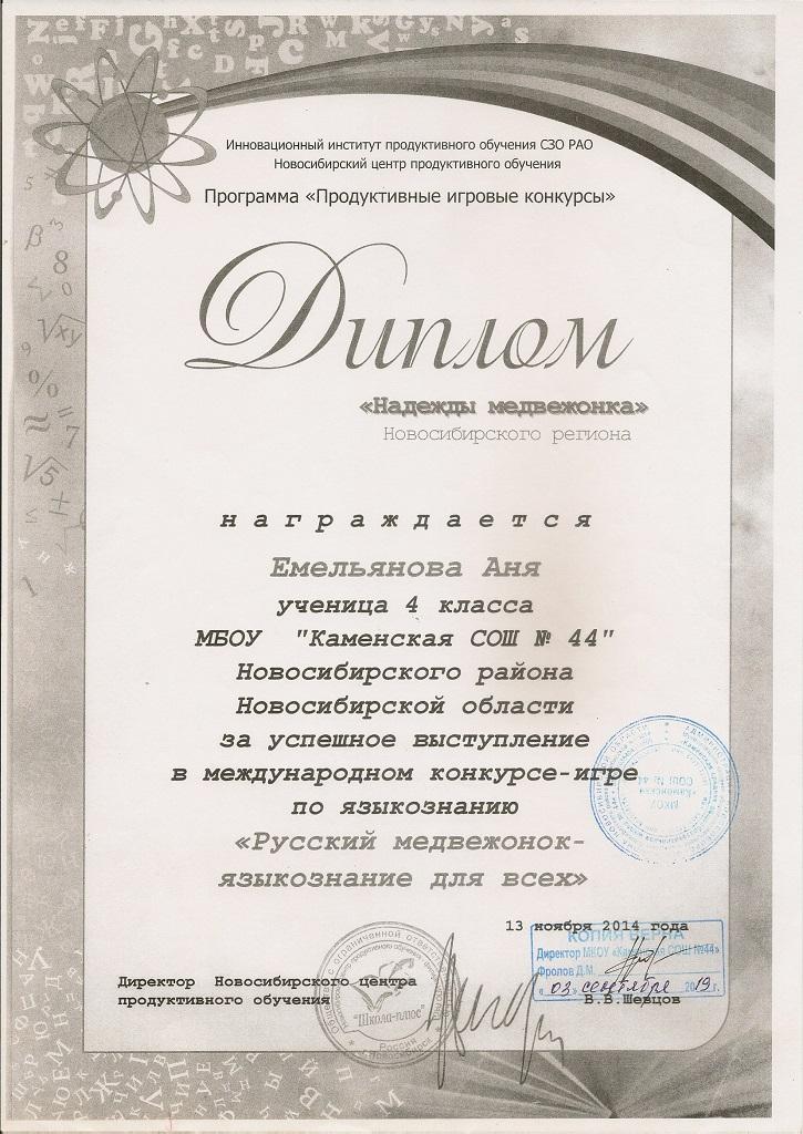 Международная игра-конкурс «Русский медвежонок»